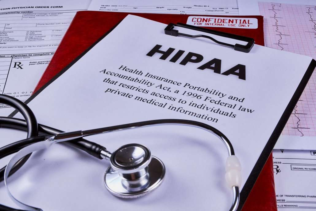 HIPAA notice on clipboard